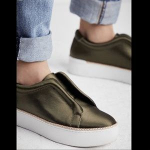 M4D3 x Free People Green Satin Sneakers Size 6.5
